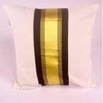Black and Gold Striped Cushion Cover