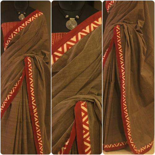 Soft Brown Mangalgiri Cotton Saree