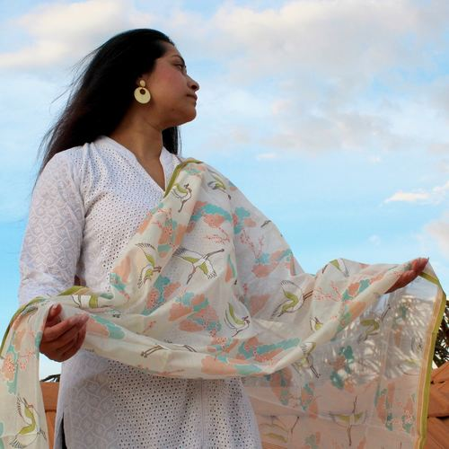 Cherry Blossoms In The Clouds Chanderi Dupatta