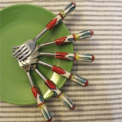 Ceramic Multicoloured Fork Set