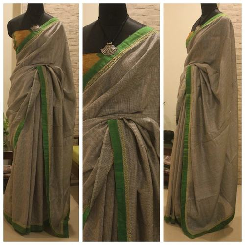 Tussar With Raw Silk Lime Green Border