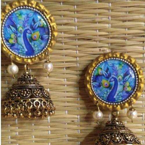 Blue Peacock Jhumka