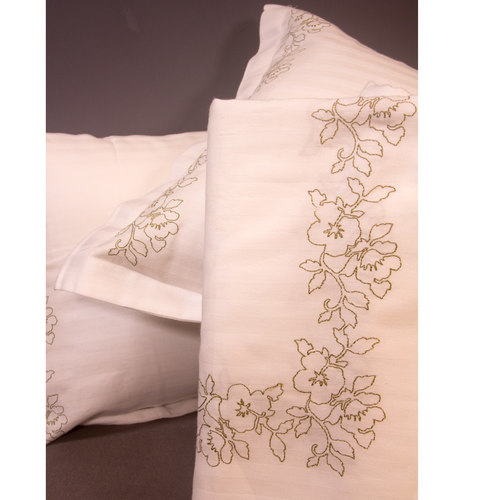 White Cotton Embroidered Bed Sheets with Pillow Covers