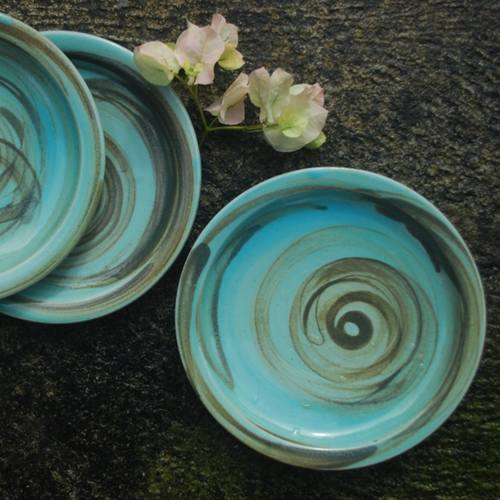 Abstract Ceramic Blue Plate