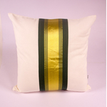 Olive Green And Gold Striped Cushion Cover