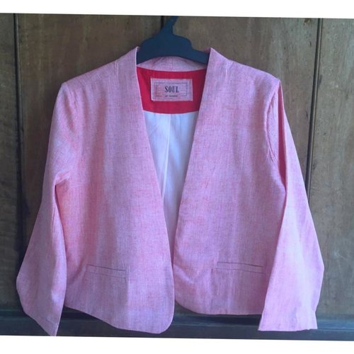 Pink cropped full sleeve jacket