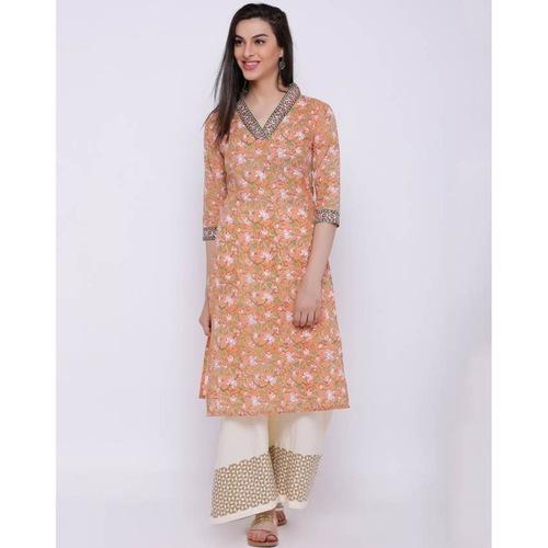 Orange all over print kurta