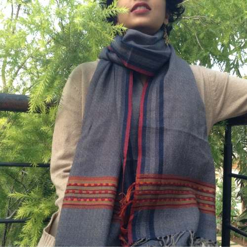 Grey Blue Woolen Scarf