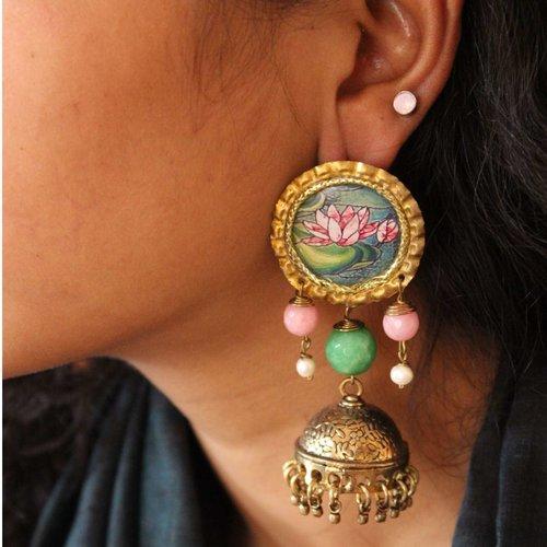 Lotus Pink And Green Bead Jhumkas