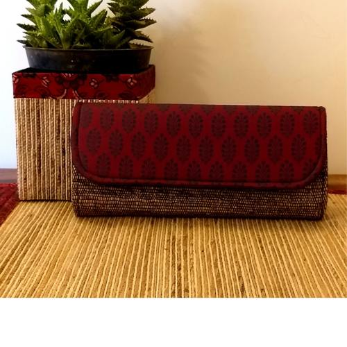 Royal Red Banana Fibre Clutch