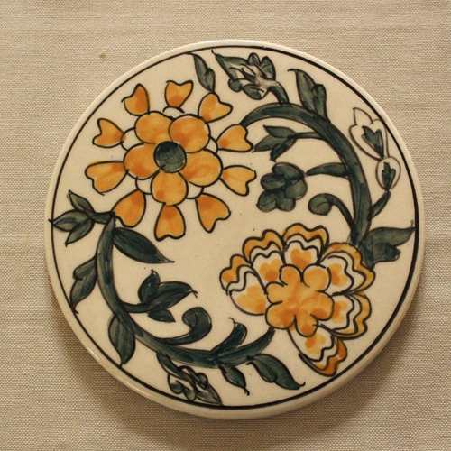 Floral Flair Ceramic Trivet - Yellow
