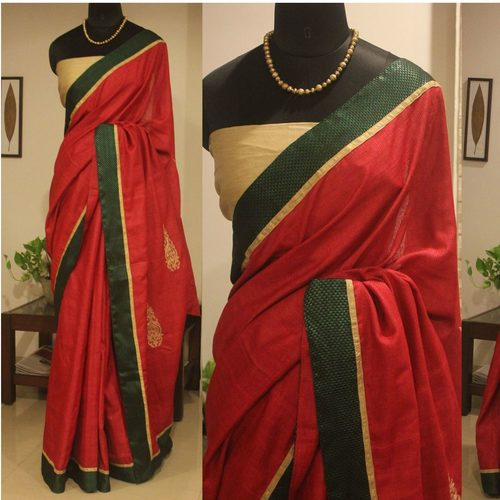 Magenta Silk Saree With Cream And Dark Green Border