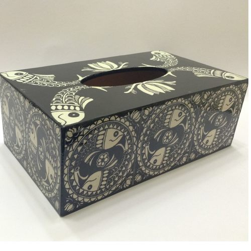 Black and White Decoupage Napkin Box With Fish Painting