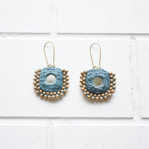 Beaded Square Earrings - Blue