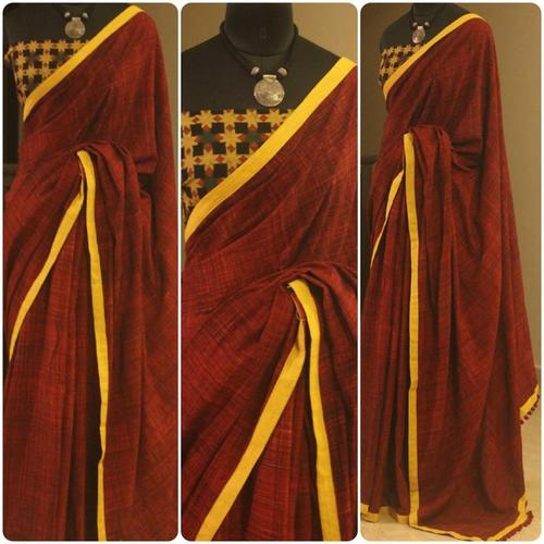 Deep Rust Cotton Saree With Ajrack Blouse