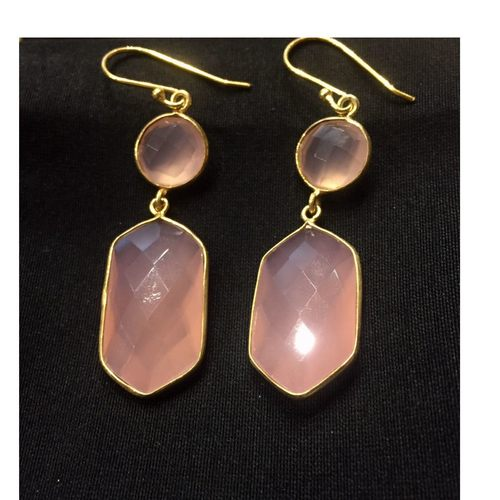 Come Hither Rose Quartz Hexagonal Danglers