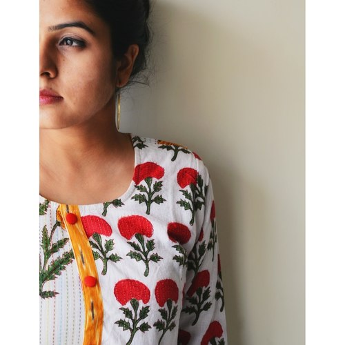 Red Patch Yellow Floral Kurta