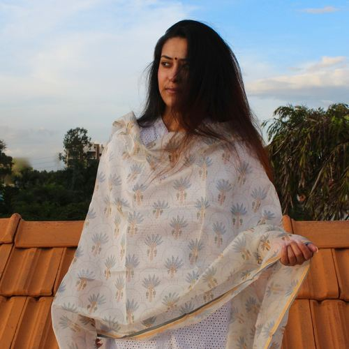 Fairy Blue Flora Chanderi Dupatta