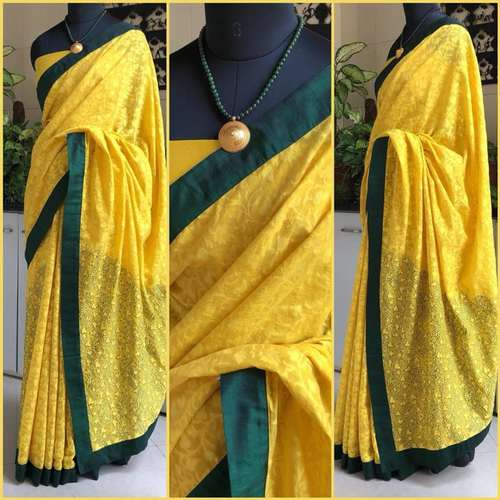 Yellow And Dark Green Self Print Chanderi