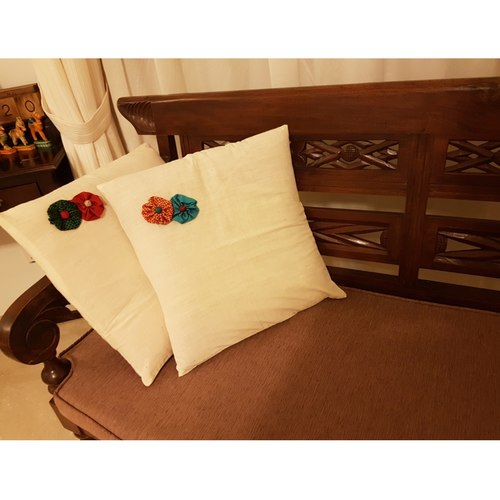 Solid Colour Cushion Cover With Fabric Florets