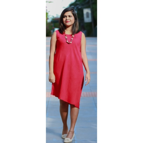Red asymmetric dress
