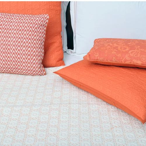 Luxurious Rust And White Bed Cover, Sheet And Pillow Set