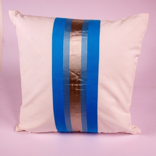 Sky Blue And Silver Striped Cushion Cover