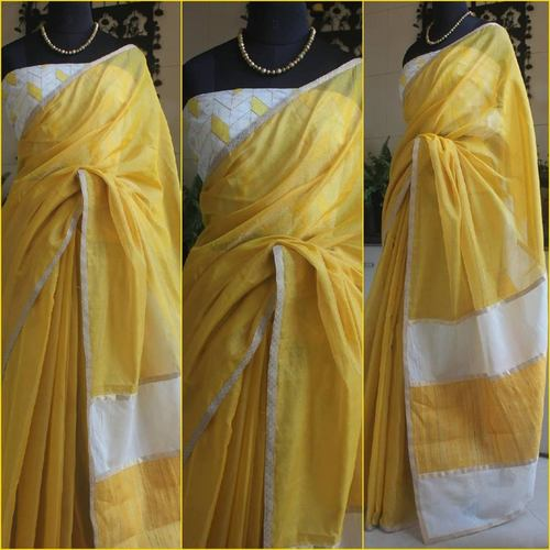 Lemon Yellow Tissue Chanderi