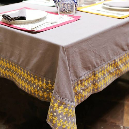 Grey And Yellow Table Cloth