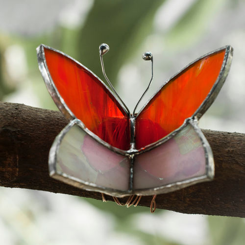 Red Butterfly Wrap Sun-Catcher