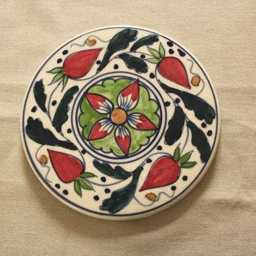 Strawberry Red Ceramic Trivet