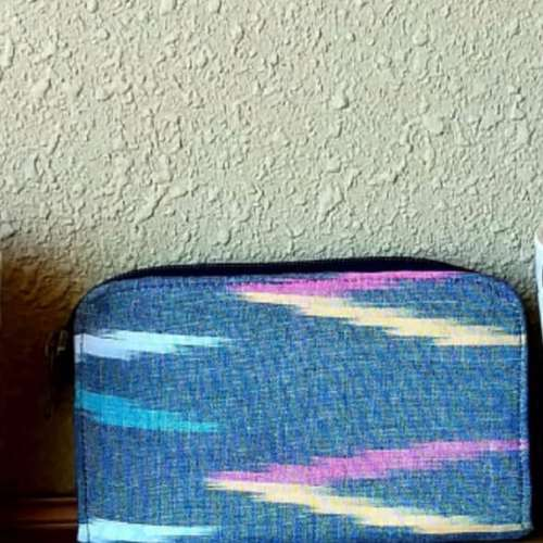 Grey Ikat Banana Fibre Wallet