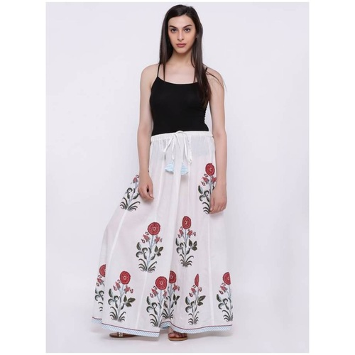 Front Tie White Floral Skirt