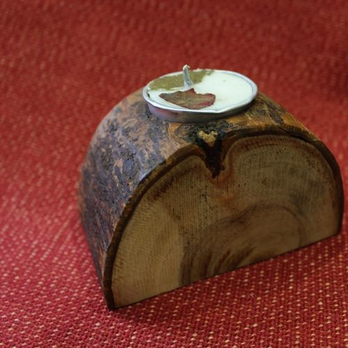 Wood Tealight Holders With Designer Tealights