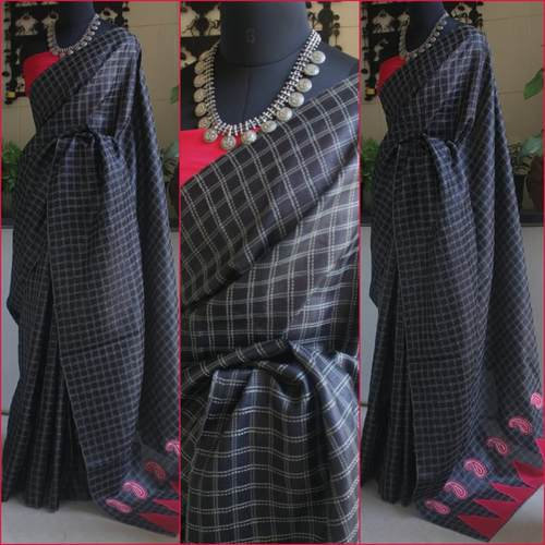 Black Tussar Check Check Saree