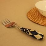 White & Blue Diamond Ceramic Serving Fork