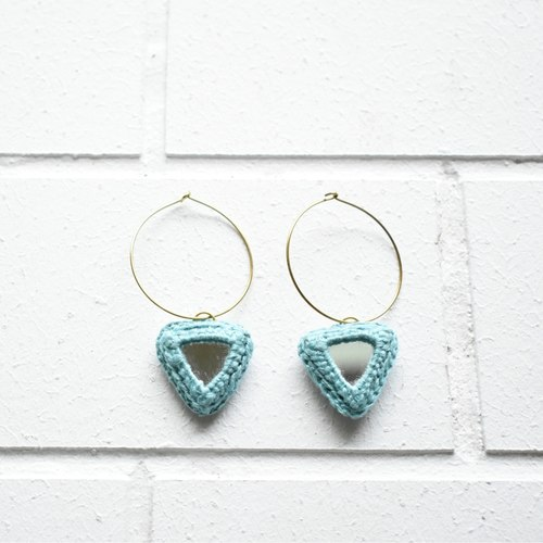 Abhla Triangle Earrings - Blue