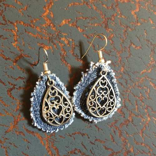 Denim Droplet Earrings