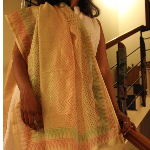 Offwhite Chanderi Dupatta With Pink And Green Zigzag Stripes