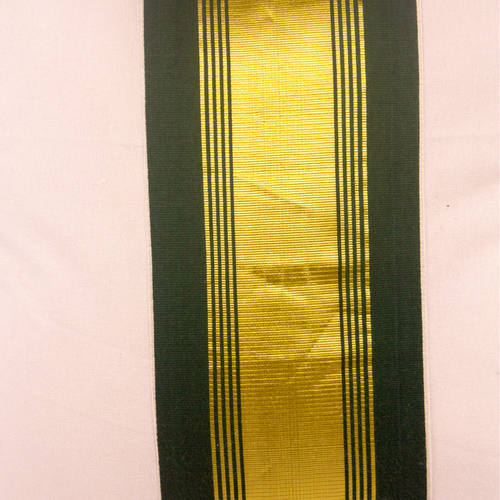 Olive Green And Gold Striped Cushion