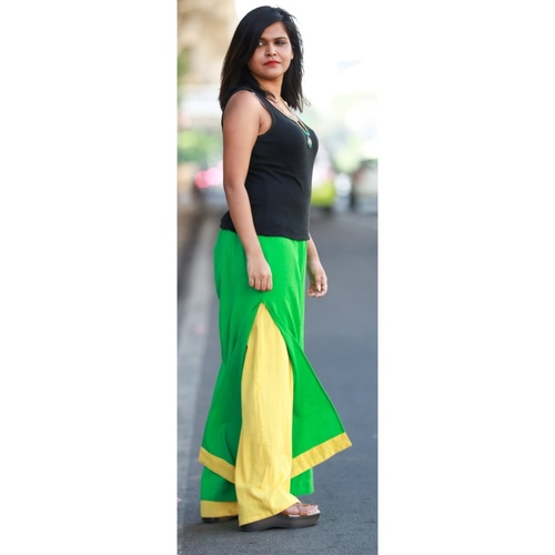 Layered green and yellow pants