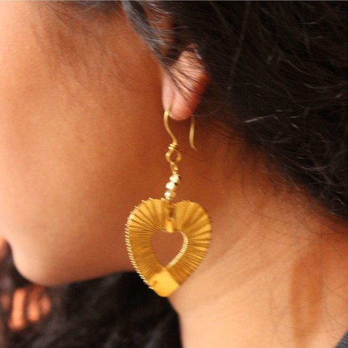 Dhokra Jewellery Heart Shape Danglers