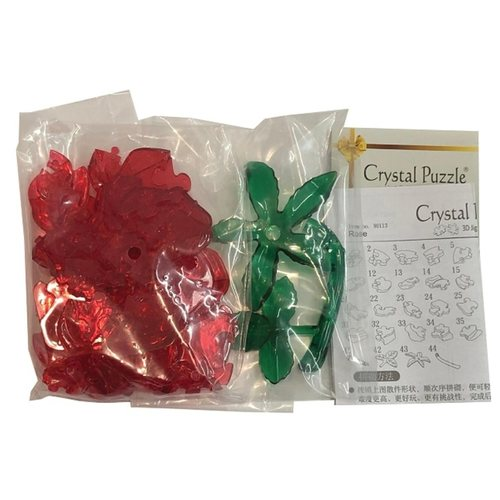 Jigsaw Puzzle Play N Learn 3D Crystal Puzzle Red Rose