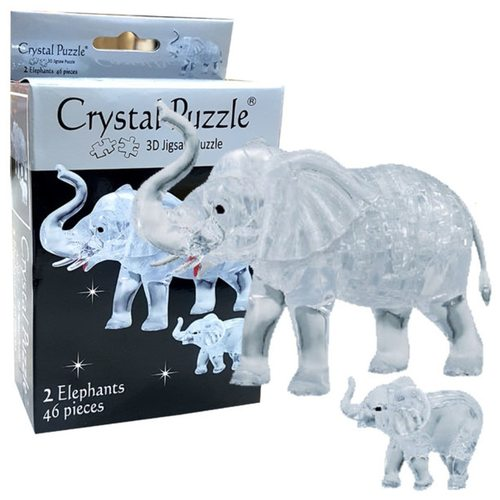 3D Crystal Puzzle Clear Elephant Set