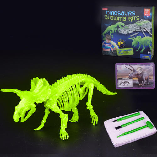 Play N Learn Glow In The Dark Dinosaur Excavation Kit - Triceratops