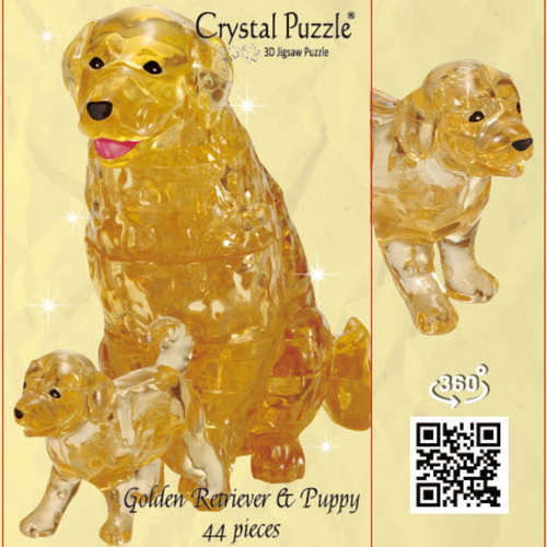 Jigsaw Puzzle Play N Learn 3D Crystal Puzzle Golden Retriever Mummy and Baby Gift Set