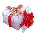 3D Crystal Puzzle Gift Box with Red Ribbon