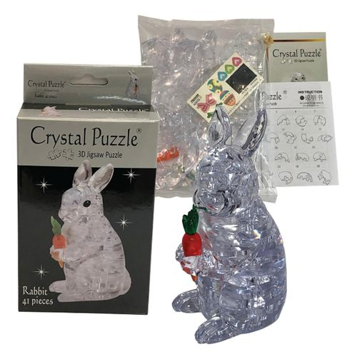 Jigsaw Puzzle Play N Learn 3D Crystal Puzzle Clear Rabbit