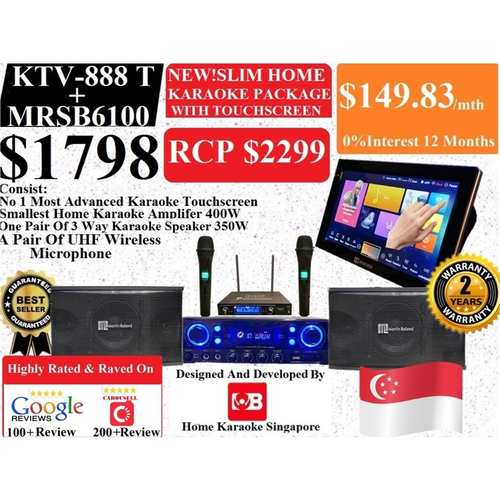 [SG] MB Karaoke MB KTV-888 Touchscreen + MRS350 Home Karaoke System Package Songs Cover With Copyright License