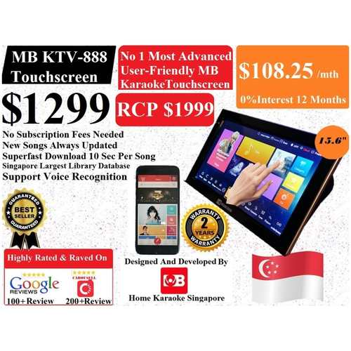 SG MB Karaoke KTV-888 Home Karaoke Touchscreen V2 System Songs Cover With Copyright License